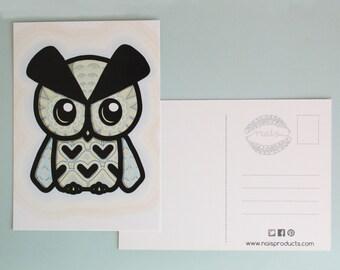 SALE! - Owl postcard - autumn, brown, vector - card