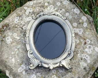 Oval scrying mirror, black glass mirror, Witches mirror, divination tools, gypsy glass, vintage style mirror, pagan altar tools,