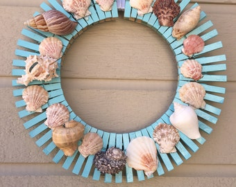 "Seashell wreath, 14"" shell wreath, teal shell wreath, sea wreath, seashells wreath, beach wreath"