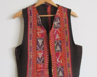 60s SOUTH AMERICAN ETHNIC Colorful Woven Vest Waist Coat / Size Small - Medium