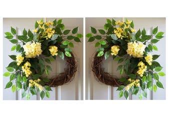Double Door Wreaths, Yellow Hydrangeas Spring Summer Wreaths for Front Door, Front Door Wreaths, Home Decor