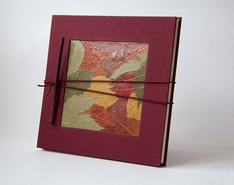Concertina photo album Leaves Leporello Garanza, accordion album, red, green