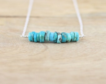 Sleeping Beauty Turquoise Bar Necklace in Sterling Silver, Gold or Rose Gold Filled. Heishi Bead Gemstone Layering Necklace. Boho Jewelry
