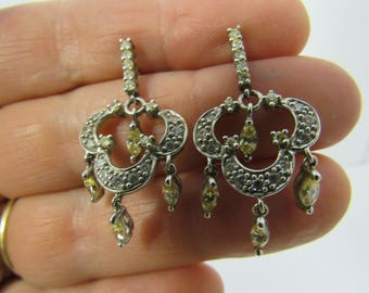 Vintage Silver Citrine and Crystal Drop Earrings Pierced Ears