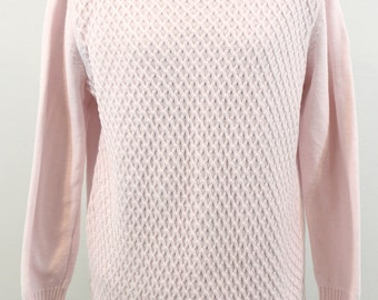 Pale Pink Cotton Sweater with honeycomb pattern. By Karen Scott. Spring sweater,  cozy sweater, unique sweater.
