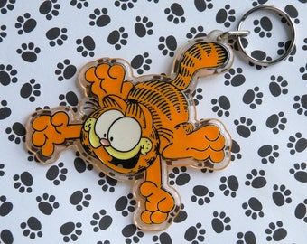Garfield the Cat Keychain, 1978, United Feature Syndicate, Inc., Hard Plastic, Fun Collectible, Ornament, Backpack Decoration, Collectible