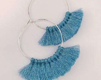 Large earrings, earrings, hoop earrings, tassels, tassels earrings, statement earrings, large hoops, blue tassels, tassel accessories