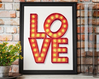 love light up marquee sign art print love wall art light bulb letters vintage sign marquee letters nursery decor
