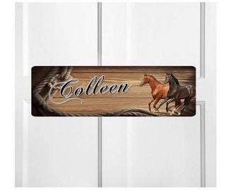 Personalized Kids Room Door Sign-Horses Bedroom Door Sign-Room Plaque