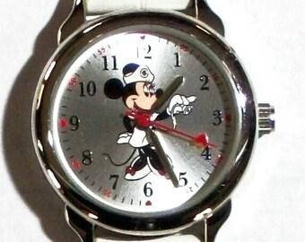 Disney Minnie Mouse Nurse Watch! New! Minnie in Nurses Uniform on Dial! Cute!