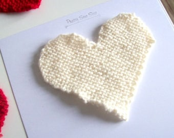 cream heart topper large knitted cream heart appliqué patches valentines day love