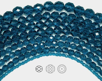 12mm (34pcs) Dark Aqua, Czech Fire Polished Round Faceted Glass Beads, 16 inch strand