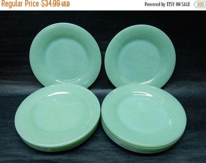 Storewide 25% Off SALE Vintage Anchor Hocking Jadeite Fire King Single Dessert Plate Featuring Classic Green Restaurant Ovenware Finish
