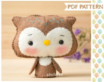 PDF Pattern, Woodland Series: Owl, Felt Woodland Animal Pattern, Felt plush.
