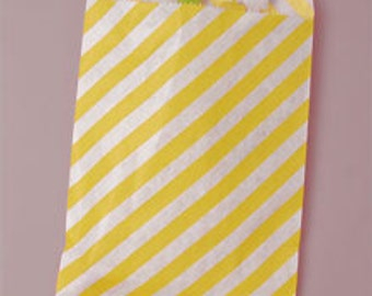 Striped paper bag, 10 count, yellow