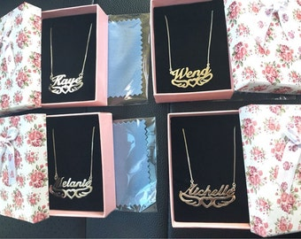 Silver Name Necklace Custom Necklace Christmas Gift