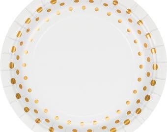 Elegant foil gold and white dessert plates / wedding /Bridal shower /anniversary / Birthday party / Tableware /gold tableware /