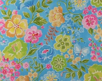 Clothworks Floral Cotton, Pink Chinoise Flowers on Blue 100% Cotton, in FQ Fat Quarter Half Full Metre, for Dressmaking, Quilting and Crafts