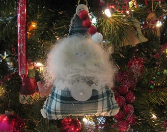 Handmade Santa Ornament Green and White Cotton Plaid, Button and Bead Accents, Sheep's Wool Beard  and Hair