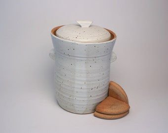 Fermentation Crock (~4 Liters) with water lock (White) MADE TO ORDER