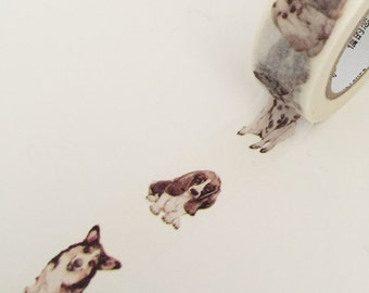 Dog Washi Tape - Adhesive Tape Decorative Kawaii ~ Single Roll Set