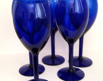 NO SHIPPING CHARGES....Cobalt Blue Wine Glasses S/5