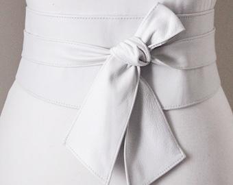 White Obi Sash Belt | Leather Obi belt | Slant tie Corset Belt | Waist Belt |Leather Belt | Plus Size Accessory | White Obi Belt | Wrap Belt