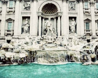 Trevi Fountain Photo, Europe photography, travel photography, Rome art, architecture, aqua, teal decor, fountain photo, Europe, travel decor