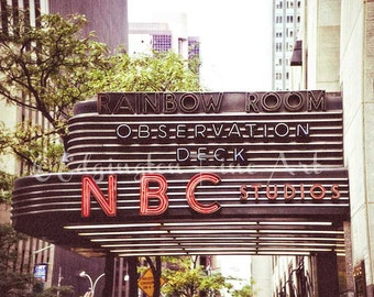 NBC Rainbow Room Sign, New York City Photo, urban decor, sign photo, NYC photography, New York City print, travel photo, New York City decor