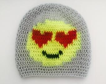 Crochet Slouchy Hat | Heart-Eyed Emoji | iHat v1.0