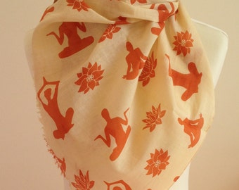Apricot yoga scarf - apricot lotus flower scarf - apricot yoga wrap - apricot yoga shawl - in 100% cotton
