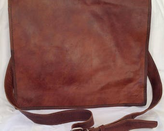 "16"" New Genuine Brown Leather Messenger Bag"