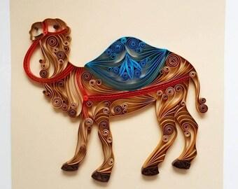 """Quilled Paper Art: """"Camel"""" 7,8""""x7,8"""" - Handmade Artwork - Paper Wall Art - Home Decor - Wall Decor - Home Decoration - Quilled Art - Camel"""