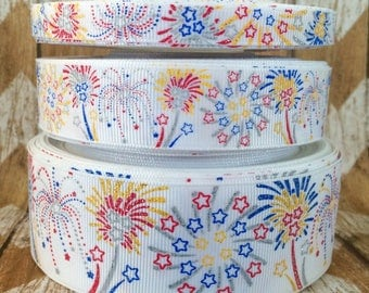 "USDR Fourth of July Fireworks in 7/8"" grosgrain ribbon"