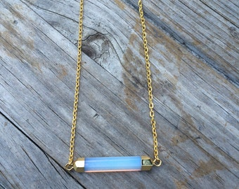 Opalite Rectangle Crystal Necklace, side Bar crystal Necklace, Crystal Necklace
