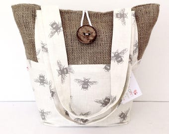 Bees and Hessian Tote Bag, Small Lunch Bag, Small Tote Bag