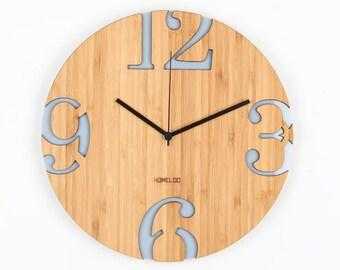 Modern Big Numbers Bamboo Wood Wall Clock - Gray