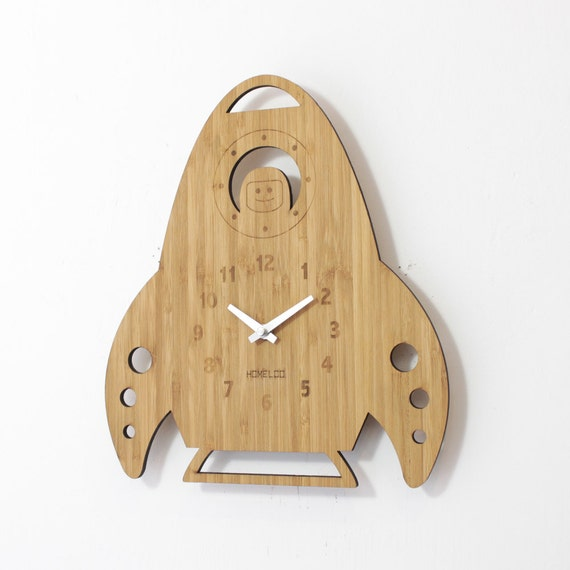 Bamboo Wood Wall Decor : Bamboo wood kids wall clock rocket by homeloo on etsy
