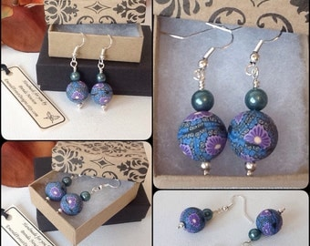 Handmade Teal & Purple Floral Earrings by Emerald Forest Designs