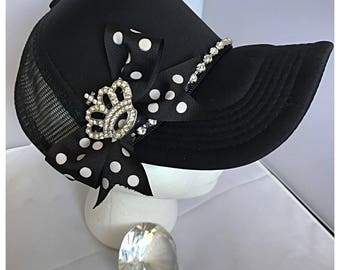 Bling Trucker Hat With Rhinestone Crown and Trim