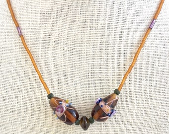 Handmade jewelry / Mother's Day Gift / Graduation / Lampwork and beaded necklace / Caramel Colored Choker