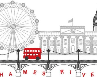 London City Skyline - City Scape - Travel Machine embroidery - multiple formats and sizes