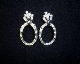 Trifari Crown Rhinestone Hanging Clip Earrings, Vintage