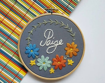New Baby Personalised Hoop Embroidery - Birth, Birthday or Christening Gift