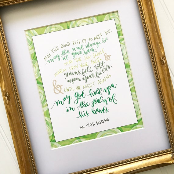 "Irish Blessing 8x10"" Hand Lettered Modern Calligraphy Print * Catholic Christian Home Decor * Going Away New Home Gifts"
