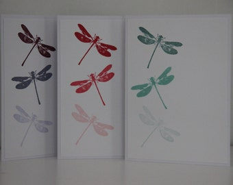 12 Dragonfly Cards. Dragonfly Card Set.  Ombre Cards. Blank Note Cards. Handmade Greeting Cards.  Thank You Cards. Dragonfly Gift