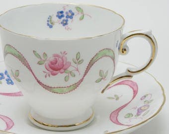 Tuscan Flowers Ribbons Roses Tea Cup and Saucer Vintage Fine Bone China Made in England 23
