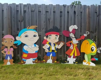 ONE 1 2ft Jake and the Neverland Pirate character standee prop cutout (Jake, Izzy, Cubby, Cpt Hook, Mr Smee,  ticktock, Skully or any other)