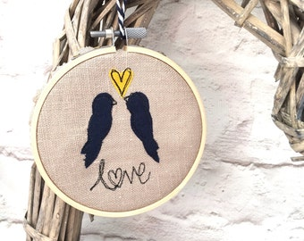 Freehand embroidered love birds decorative hoop