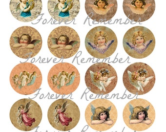 INSTANT DOWNLOAD 20mm Vintage Angels  4 x 6 Template